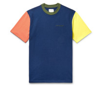 Logo-Embroidered Colour-Block Cotton-Jersey T-Shirt