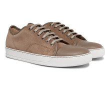 Cap-toe Suede And Leather Sneakers - Beige