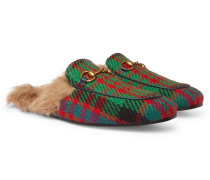 Princetown Shearling-lined Tweed Backless Loafers