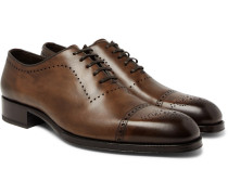 Edgar Burnished-leather Oxford Brogues - Brown