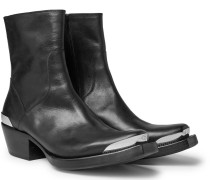 Metal-tipped Leather Boots - Black