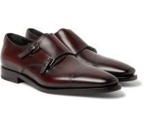 Cap-toe Polished-leather Monk-strap Shoes