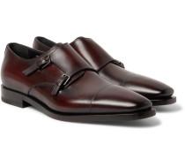 Cap-toe Polished-leather Monk-strap Shoes - Merlot