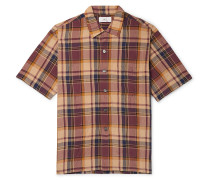 Camp-Collar Checked Crinkled-Poplin Shirt