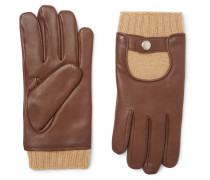 Cashmere And Leather Gloves - Brown