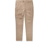 Herringbone Stretch-cotton Cargo Trousers - Neutral