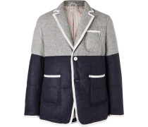 Slim-fit Contrast-tipped Two-tone Quilted Wool Down Blazer