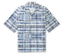 Camp-Collar Tie-Dyed Cotton Half-Placket Shirt