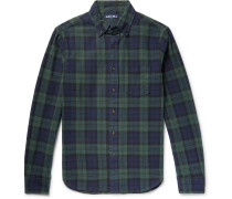 Black Watch Checked Cotton-flannel Shirt - Navy