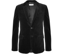 Black Slim-fit Cotton-corduroy Blazer