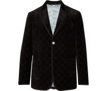 Black Grosgrain-trimmed Embroidered Velvet Blazer - Black