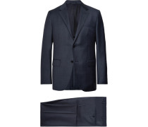 Navy Milano Easy Checked Wool Suit - Navy