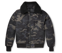 Bromley Shearling-trimmed Camouflage-print Shell Down Bomber Jacket - Black