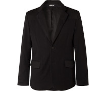 Black Wool-Twill and Waxed-Cotton Suit Jacket
