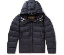 Quilted Shell Hooded Down Jacket - Navy