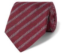 8cm Striped Silk-jacquard Tie - Burgundy