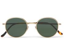 Round-frame Brushed Gold-tone And Tortoiseshell Acetate Sunglasses