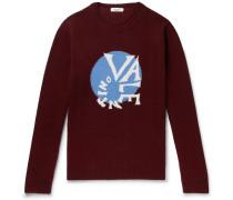 Oversized Logo-intarsia Virgin Wool And Cashmere-blend Sweater - Burgundy