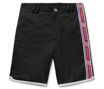 Logo Webbing-trimmed Fleece-back Satin-jersey Shorts - Black