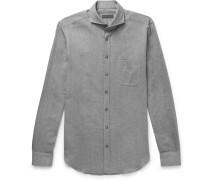 Venus Cutaway-collar Herringbone Cotton-flannel Shirt - Gray
