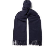Canada Fringed Wool Scarf - Navy