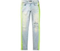 Broken Painter Skinny-fit Neon-striped Distressed Stretch-denim Jeans - Light blue