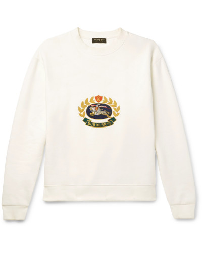 Embroidered Fleece-back Cotton-blend Jersey Sweatshirt - Off-white