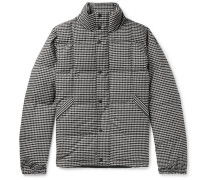 Quilted Puppytooth Brushed Stretch-cotton Down Jacket