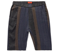 Slim-Fit Patchwork Striped Linen and Cotton-Blend Shorts