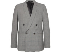 Grey Double-breasted Prince Of Wales Checked Wool Suit Jacket