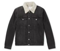 L'homme Faux Shearling-lined Denim Jacket - Black