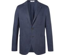 Navy Slim-fit Unstructured Basketweave Linen And Cotton-blend Blazer - Navy