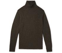 Mélange Wool and Cashmere-Blend Mock-Neck Sweater