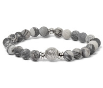 Stonehenge Spiderweb Jasper Bead And Sterling Silver Bracelet - Gray