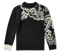 Intarsia Wool-blend Sweater - Black
