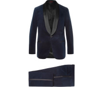 Midnight-blue Satin-trimmed Cotton-velvet Tuxedo Jacket - Midnight blue