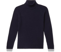 Roman Contrast-Tipped Ribbed Merino Wool and Cashmere-Blend Rollneck Sweater