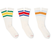 Three-pack Striped Ribbed-knit Socks - White