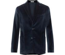 Beige K-Jacket Slim-Fit Unstructured Cotton-Blend Velvet Blazer