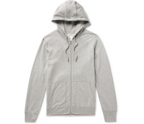 Mélange Loopback Pima Cotton-jersey Zip-up Hoodie - Gray