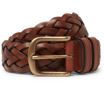 35mm Woven Leather Belt - Brown