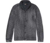 Shawl-collar Garment-dyed Ribbed Cotton Cardigan