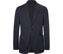 Navy Stretch-cotton Poplin Suit Jacket - Navy