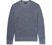 Slim-fit Textured Linen And Cotton-blend Sweater