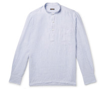 Grandad-Collar Striped Linen Shirt