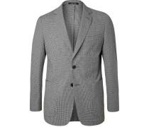 Black Checked Stretch-cotton Suit Jacket