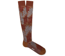 Intarsia Cotton-Blend Over-The-Calf Socks