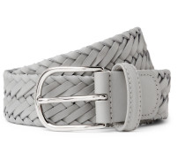 3.5cm Grey Woven Leather Belt