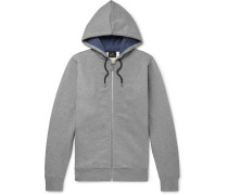 Organic Loopback Cotton-jersey Zip-up Hoodie - Gray