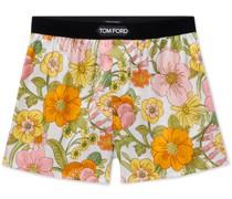 Velvet-Trimmed Floral-Print Stretch-Silk Satin Boxer Shorts